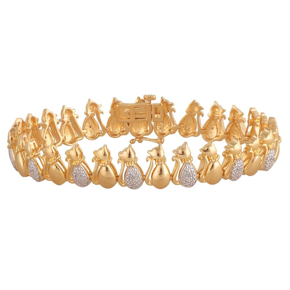 Gold Plated Sterling Silver Diamond Cat 19cm Bracelet