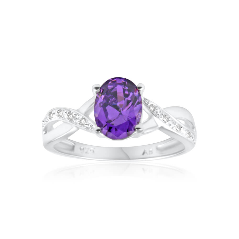 Sterling Silver Cubic Zirconia Purple Oval Ring