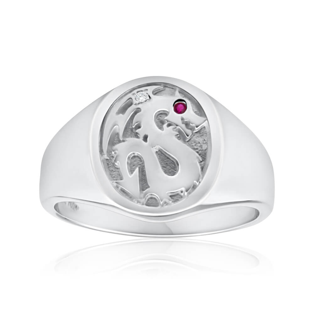 Sterling Silver Created Ruby Dragon Oval Ring
