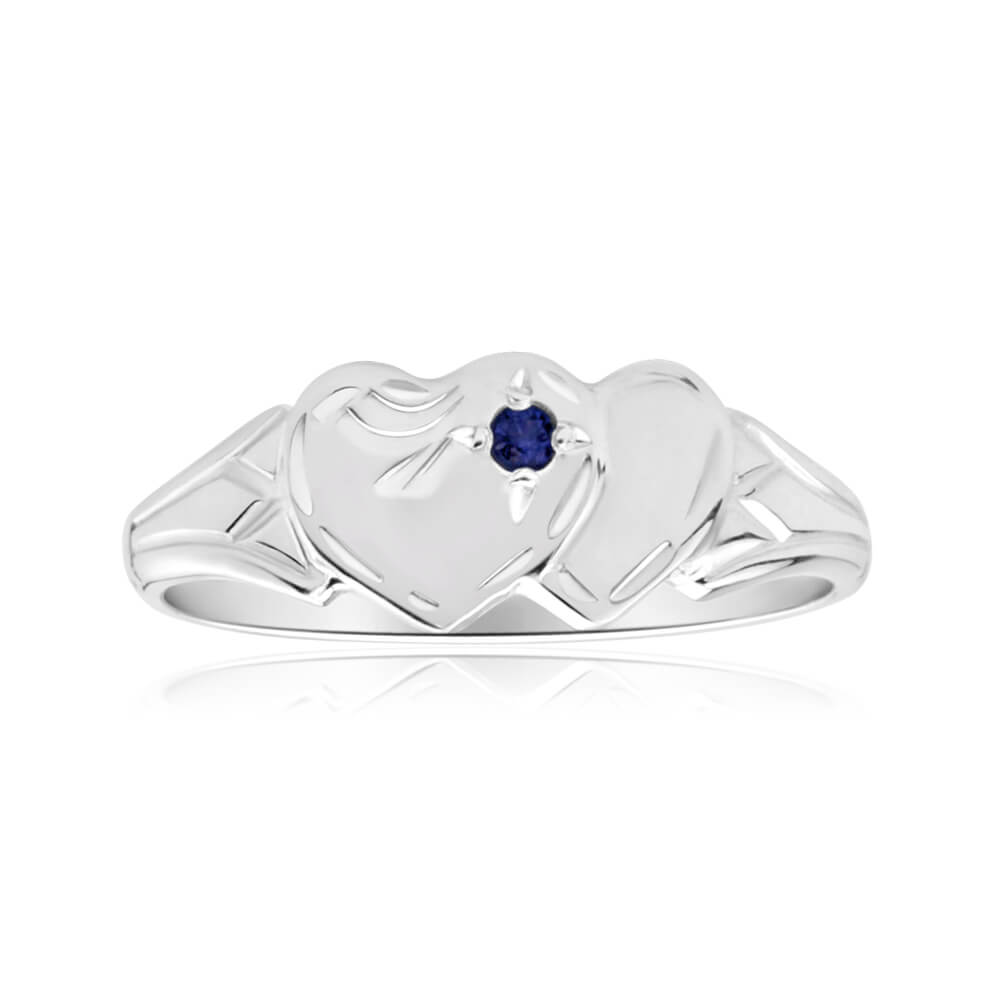 Sterling Silver Natural Sapphire 2Heart Signet Ring Size H