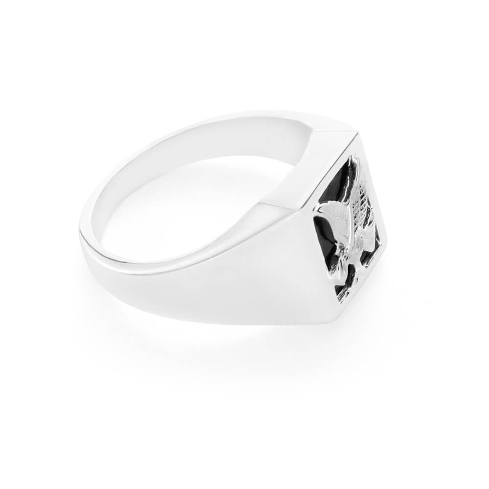 Sterling Silver Diamond + Onyx Ring