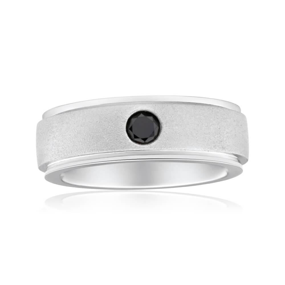 Black Diamond Sterling Silver Single Diamond Ring