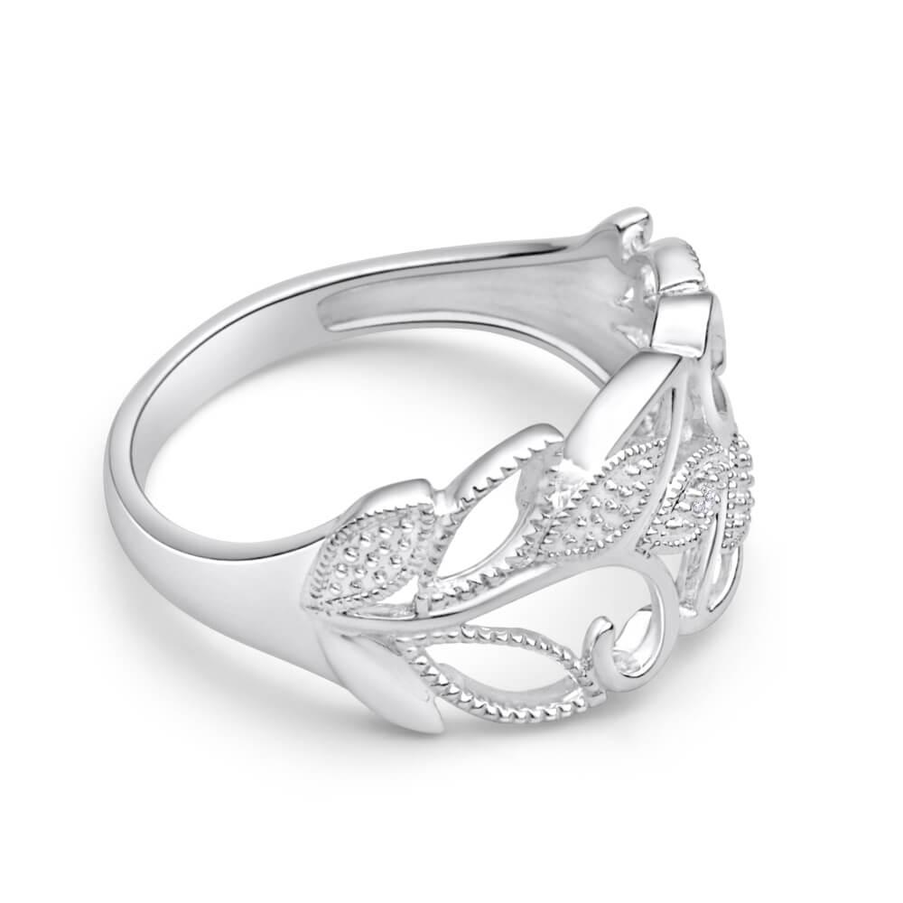 Sterling Silver Diamond Set Leaf Ring