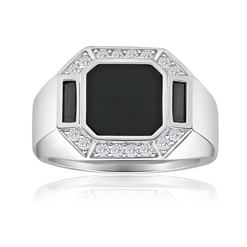 Sterling Silver Onyx + Cubic Zirconia Gents Ring