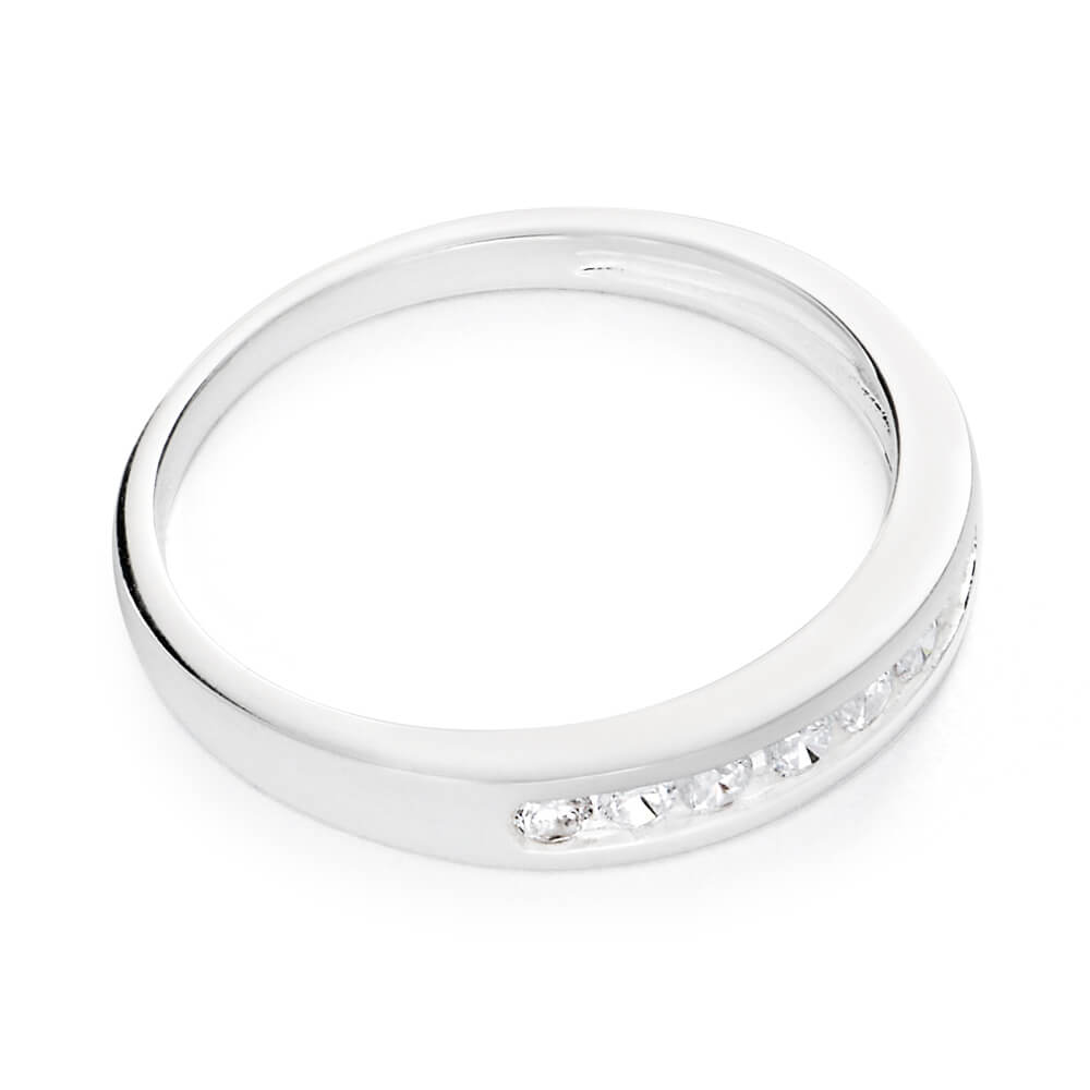 Sterling Silver Cubic Zirconia Channel Ring
