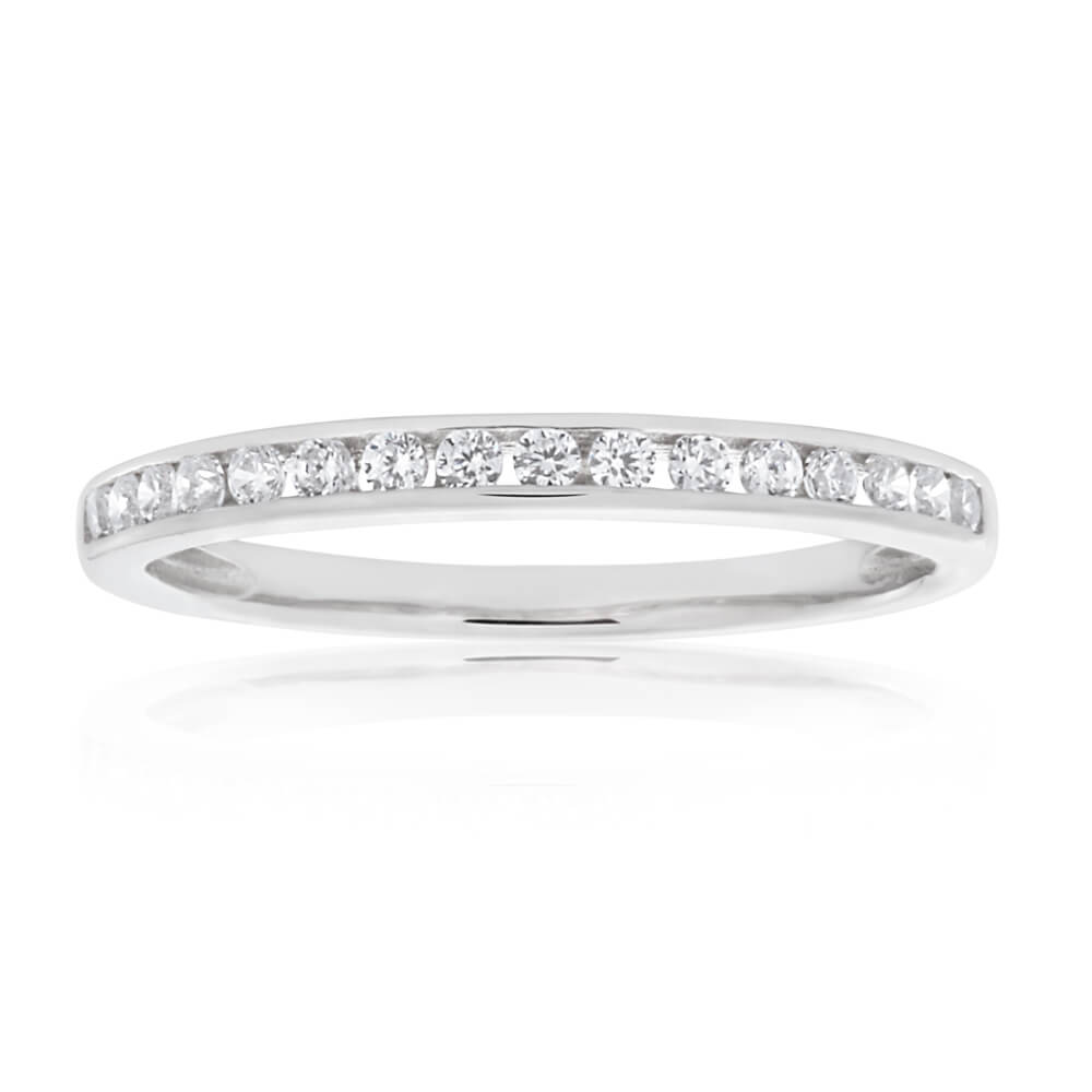 Sterling Silver Rhodium Plated Zirconia Channel Ring