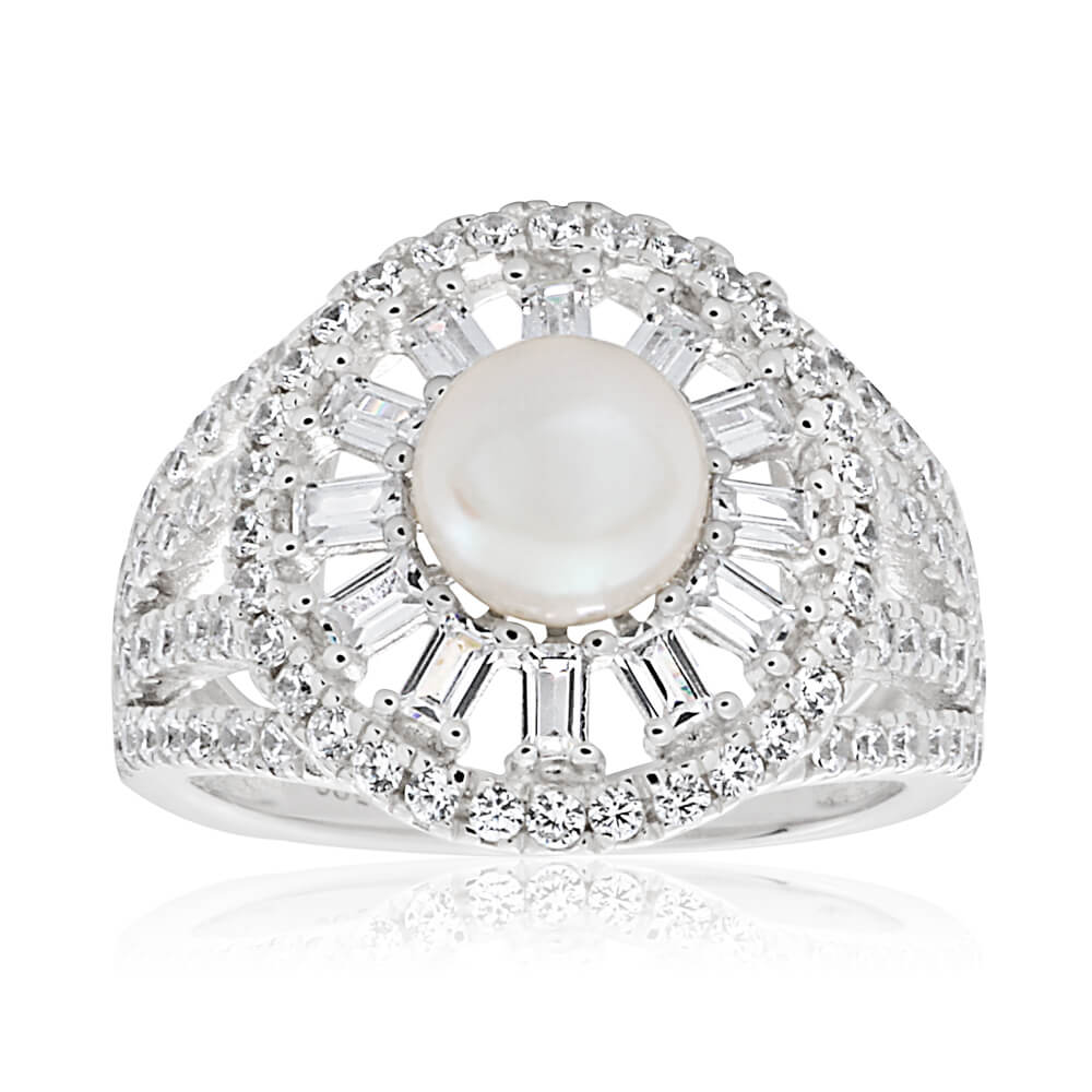 Sterling Silver Rhodium Plated Cubic Zirconia + Pearl Ring