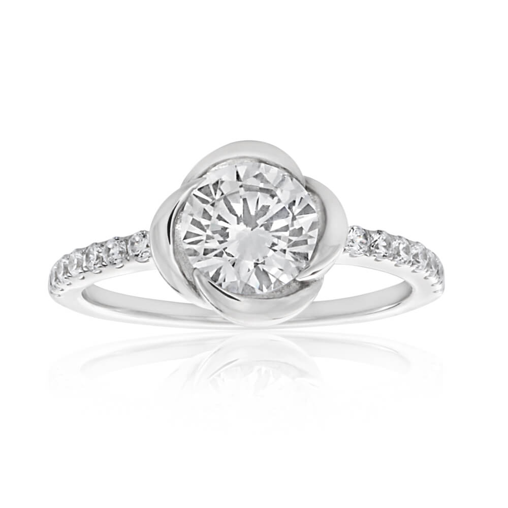 Sterling Silver Rhodium Plated Cubic Zirconia Flower Ring