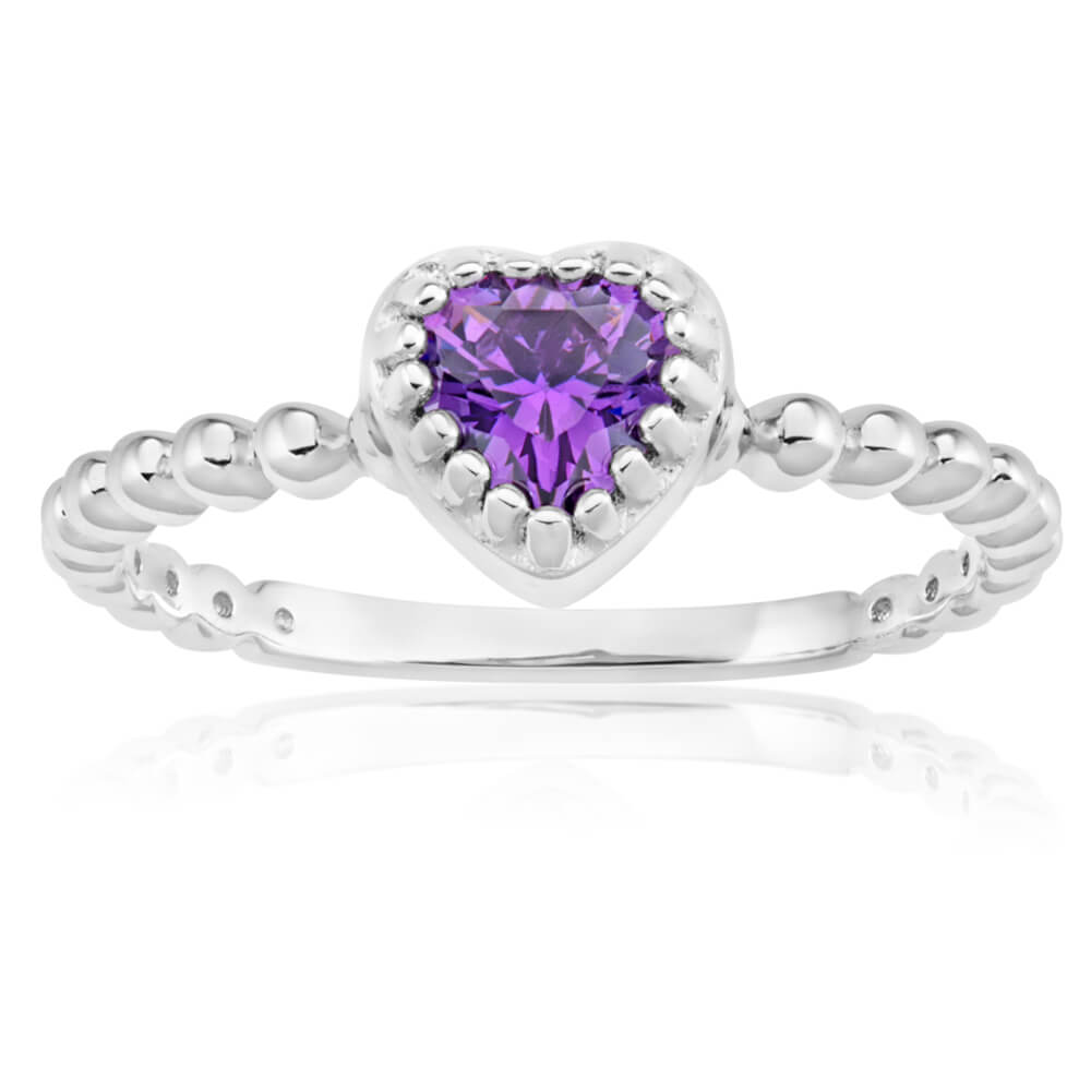 Sterling Silver Rhodium Plated Purple Cubic Zirconia Heart Twisted Band Ring