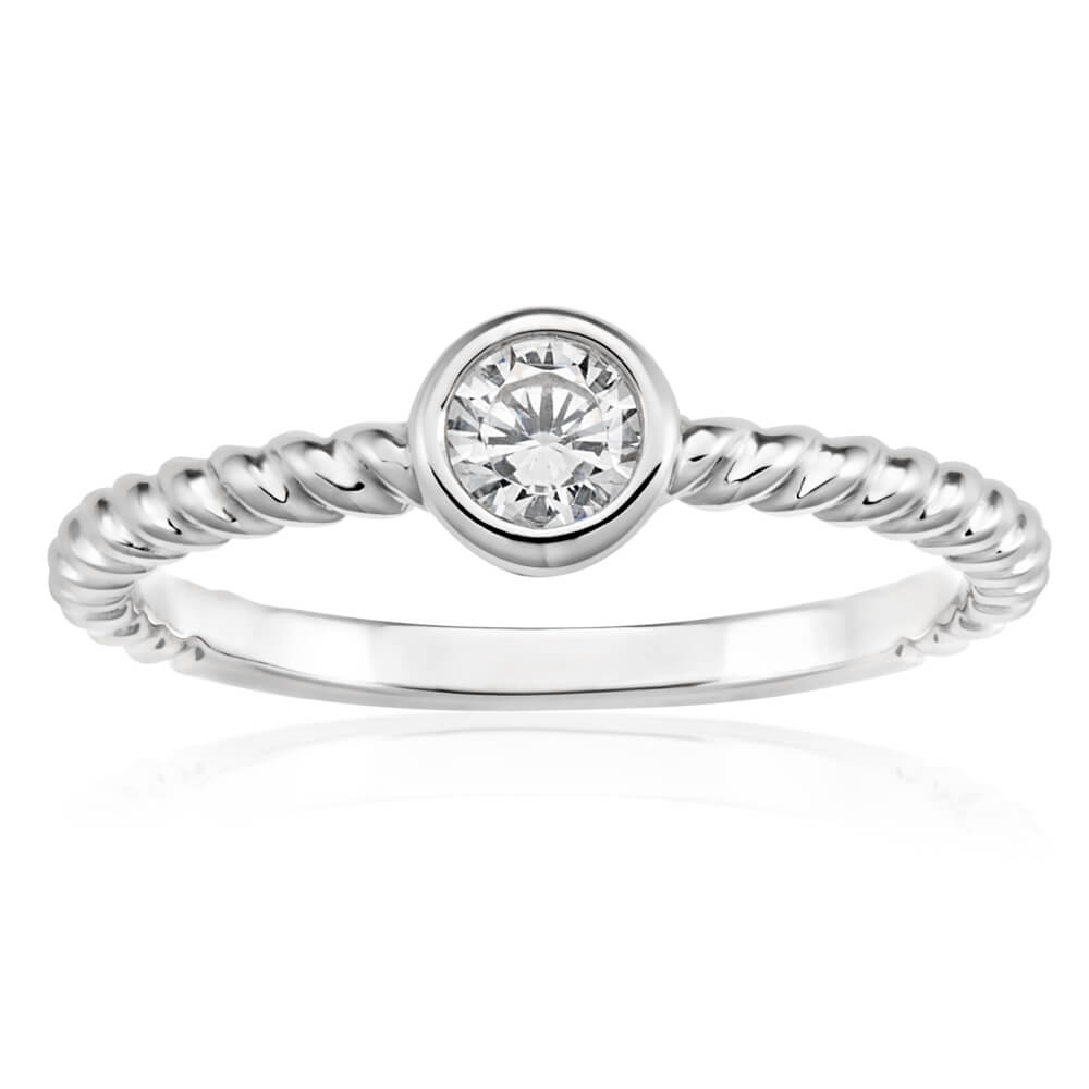 Sterling Silver Rhodium Plated Cubic Zirconia Bezel Set Twist Band Ring