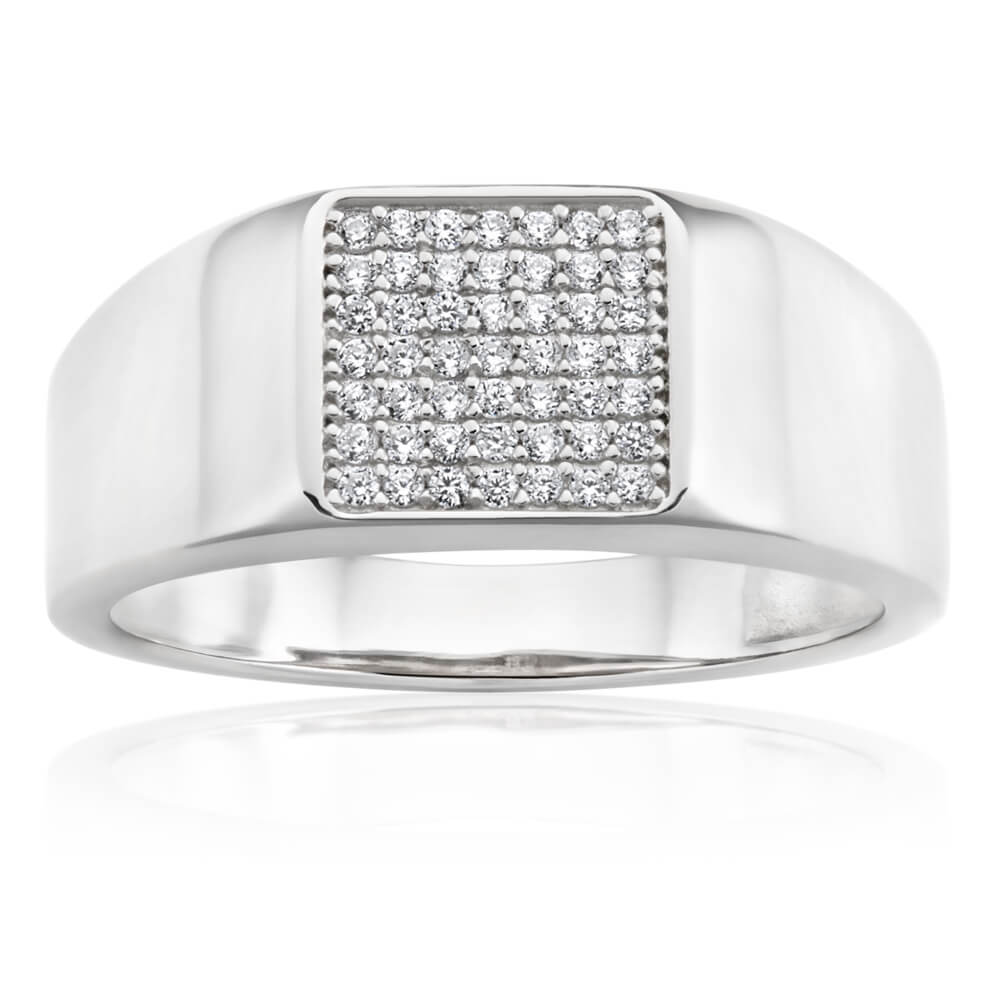 Sterling Silver Rhodium Plated Cubic Zirconia  Signet Ring