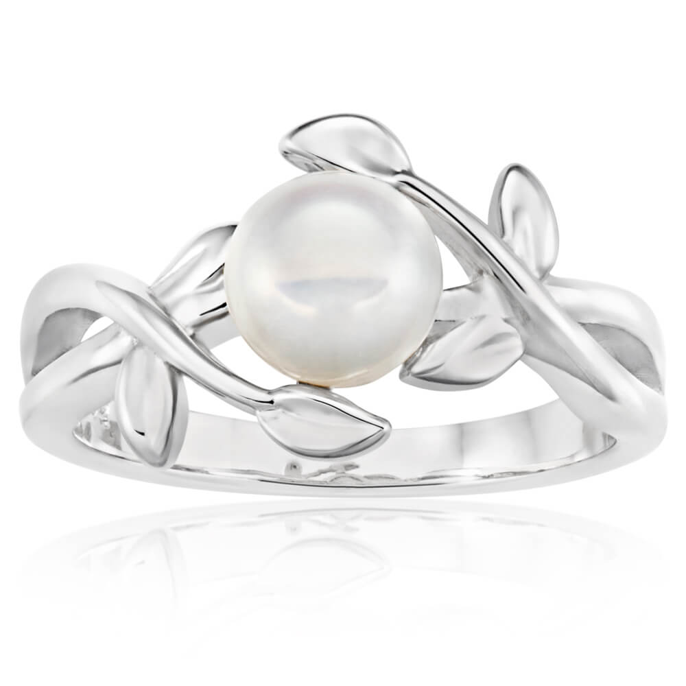 Sterling Silver Rhodium Plated Freshwater Pearl Leaf Twine Ring