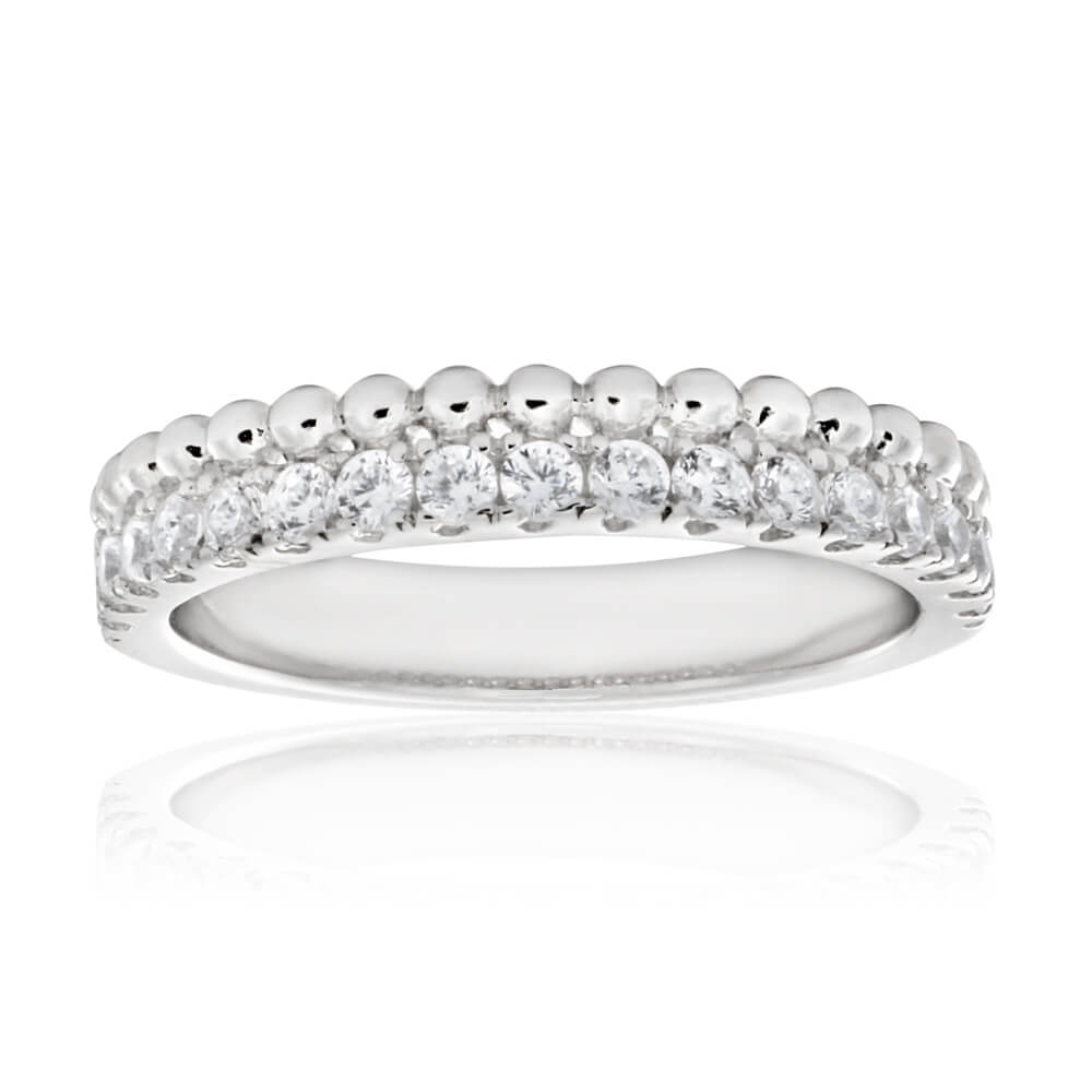 Sterling Silver Rhodium Plated Fancy Cubic Zirconia Channel Set Ring