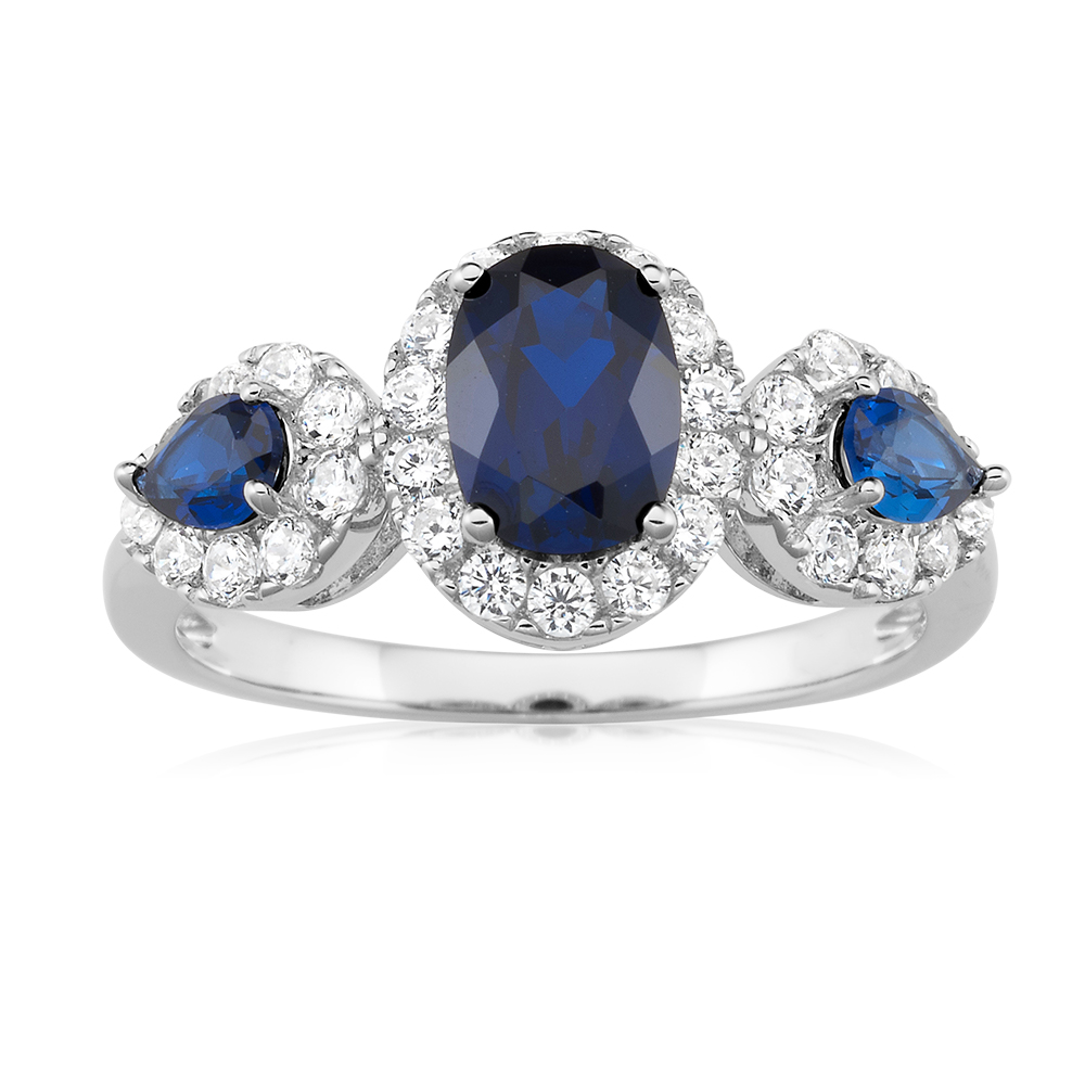 Sterling Silver Rhodium Plated Created Sapphire and Cubic Zirconia Trio Ring