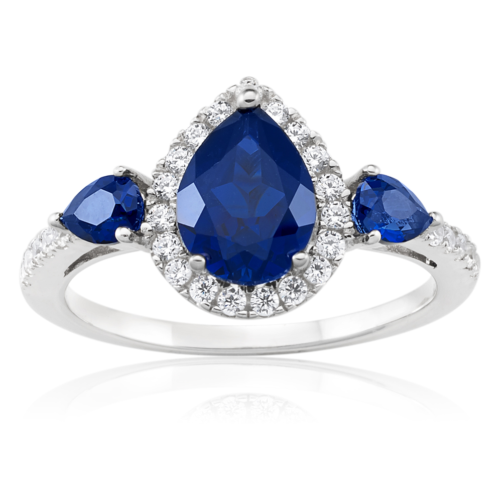 Sterling Silver Rhodium Plated Created Sapphire Pear Shape and Zirconia Ring
