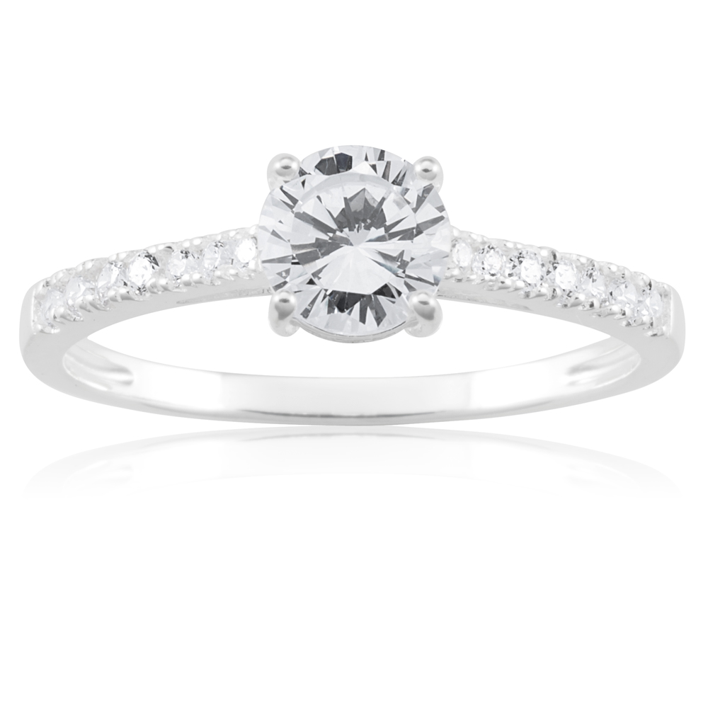 Sterling Silver Cubic Zirconia Solitaire Fancy Ring