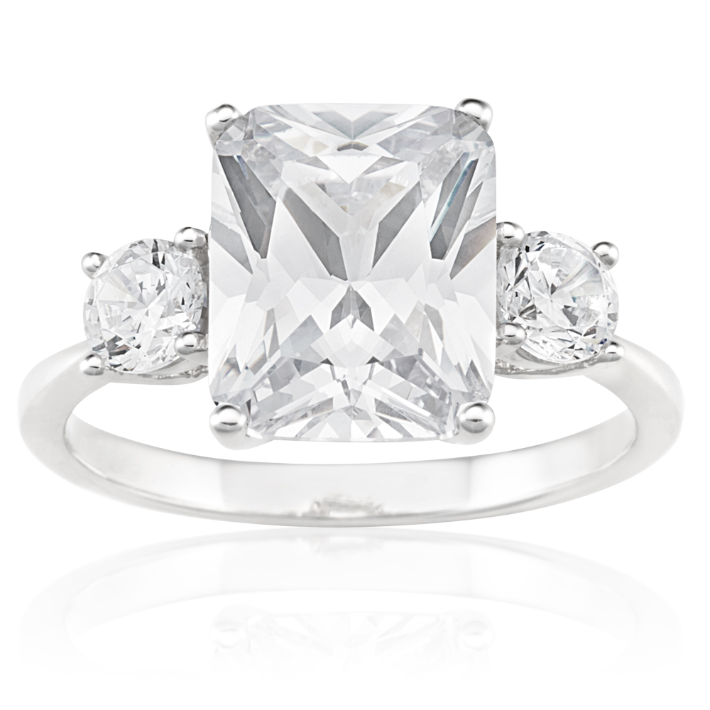 Sterling Silver Rhodium Plated Cubic Zirconia Trio Ring