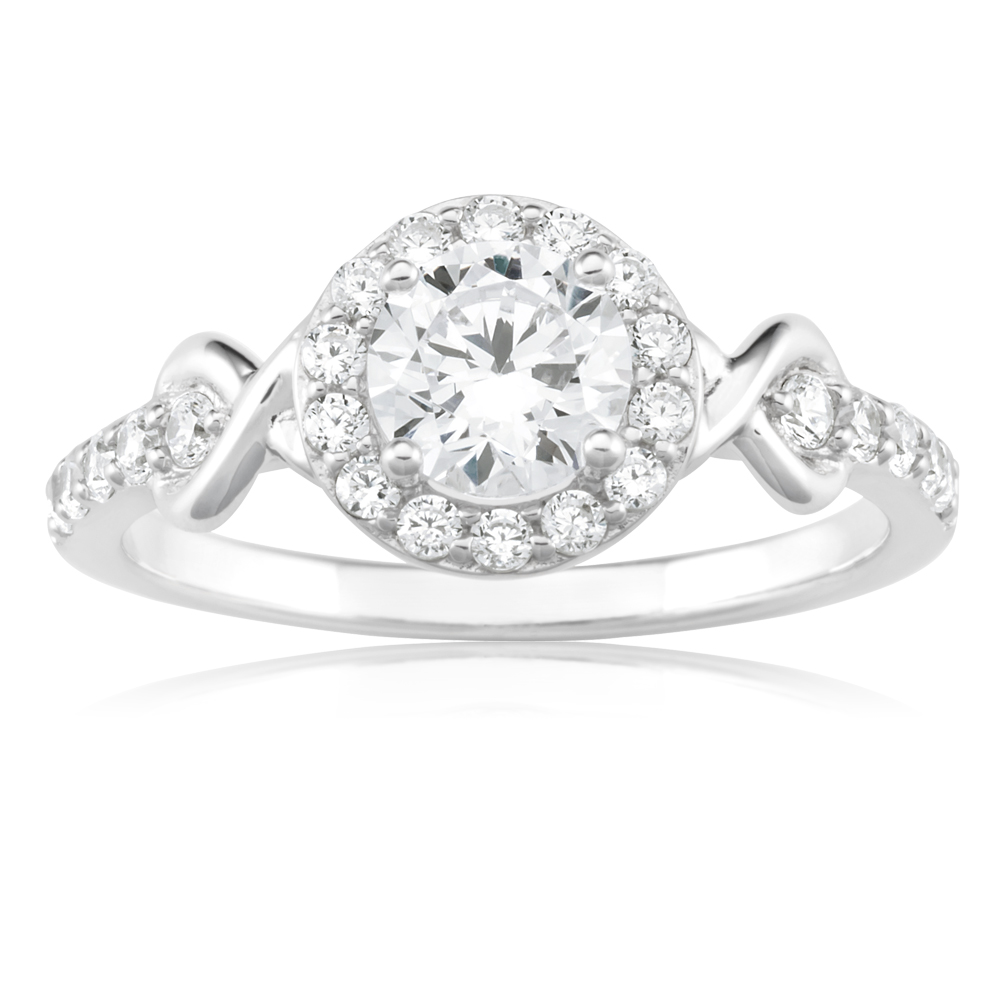 Sterling Silver Rhodium Plated Cubic Zirconia Fancy Halo Ring