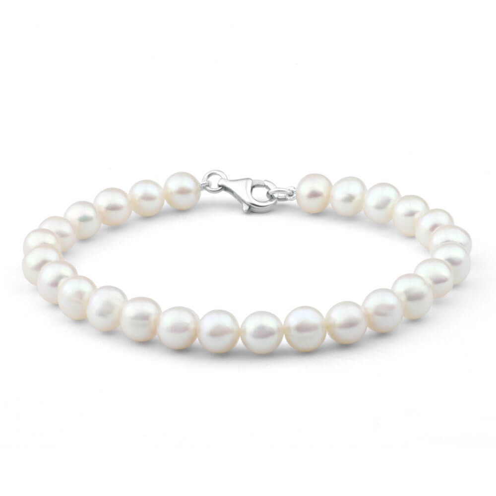 Cream Freshwater Pearl 19cm Bracelet with Sterling Silver Clasp