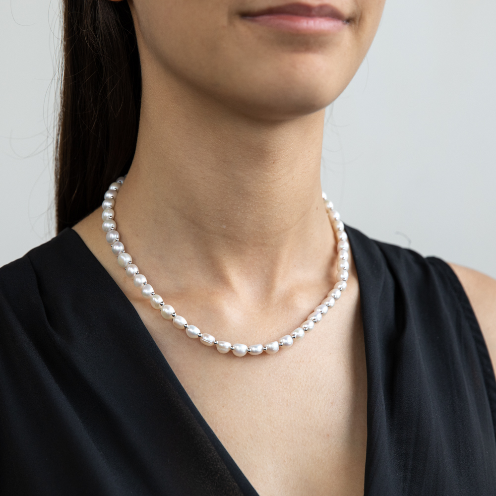 White Freshwater Flat Pearl 43cm Necklace with Sterling Silver Clasp