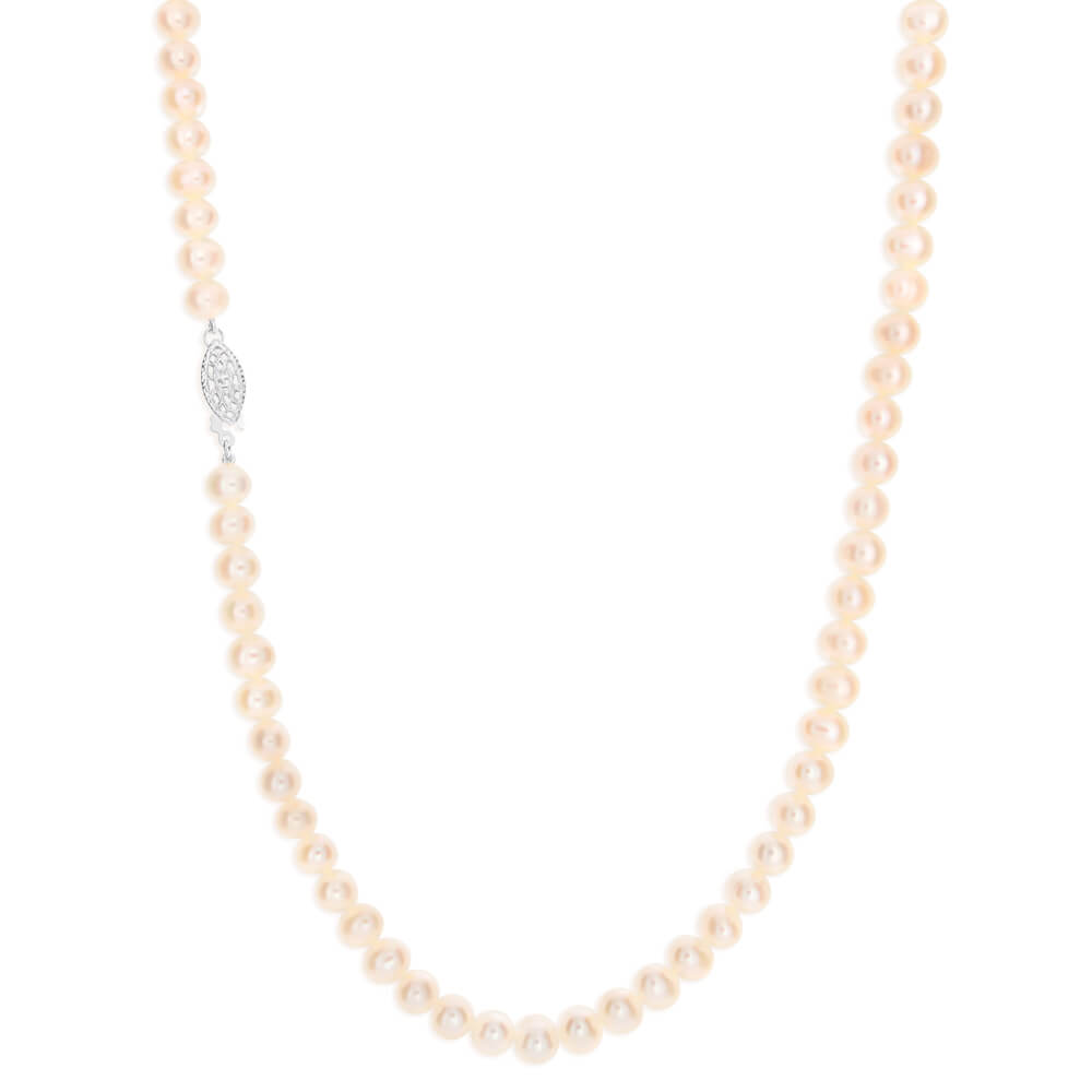 White Freshwater Fish Clasp Pearl Necklace