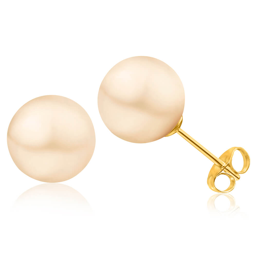 14ct Yellow Gold 9mm White Freshwater Pearl Stud Earrings