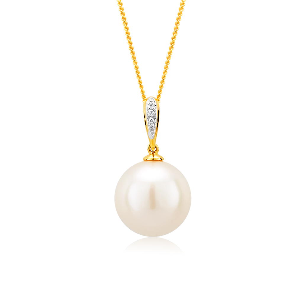 9ct Yellow Gold White South Sea Pearl Pendant With 45cm Chain