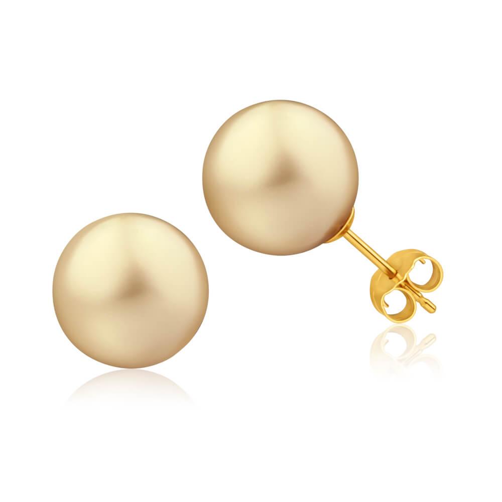 'Marella' 9ct Yellow Gold Golden Pearl Stud Earrings