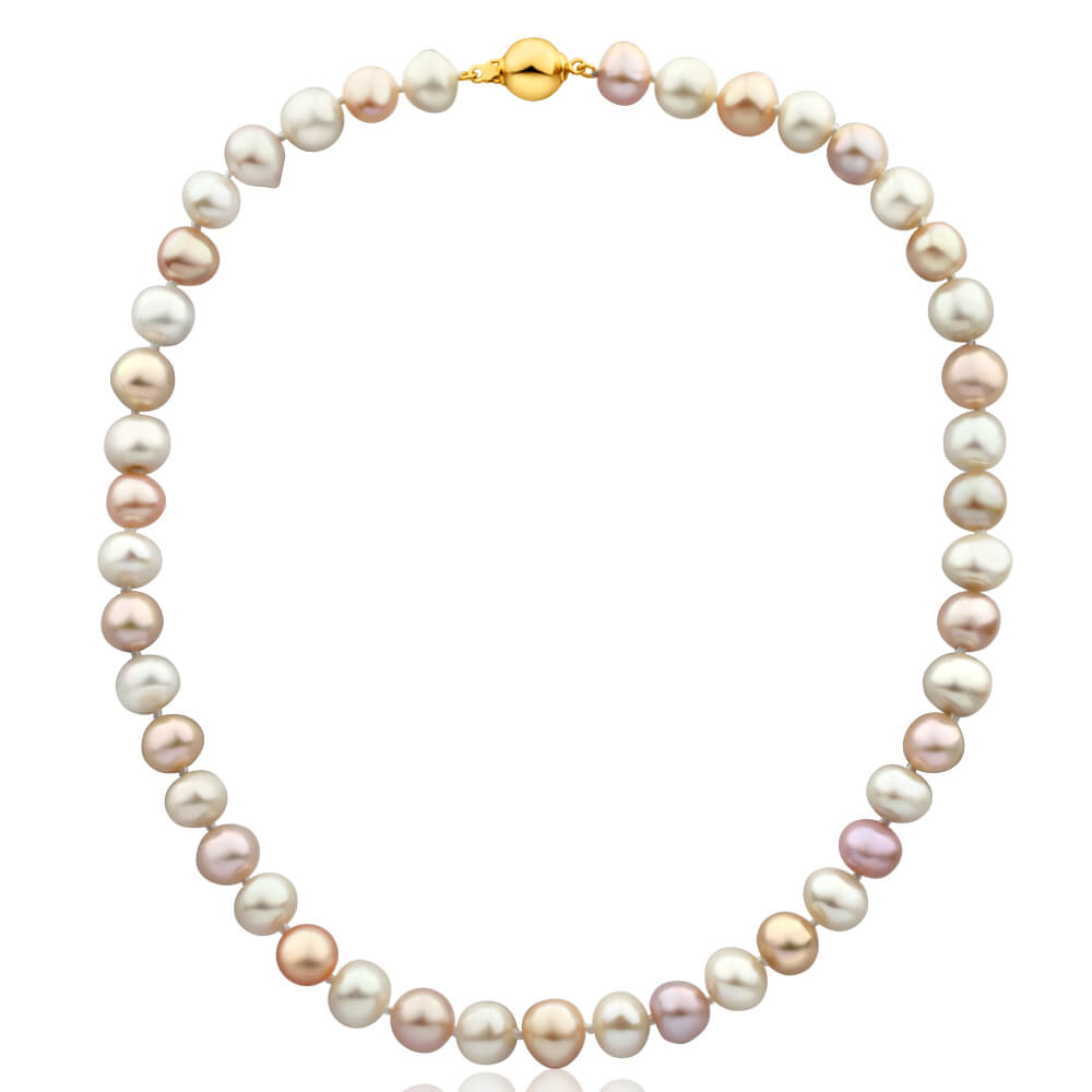 Gold Plated Sterling Silver Mixed Colour Freshwater Pearl Necklace
