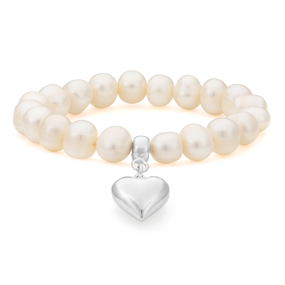 White 10mm Freshwater Pearl and Heart Charm Bracelet