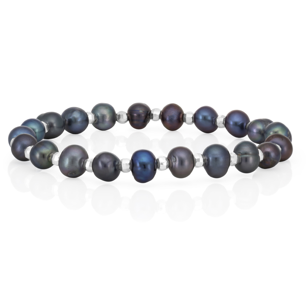 Grey 6-6.5 mm Freshwater Pearl and Sterling Silver Bead Bracelet