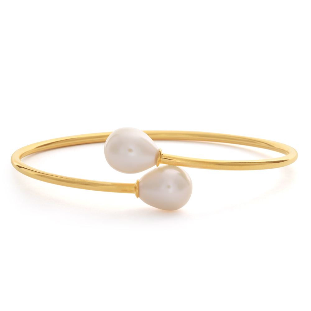 Sterling Silver Gold Plated 8-10mm Freshwater Pearl Bangle