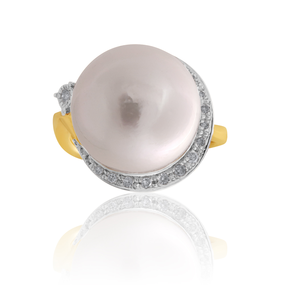 9ct Yellow Gold 14-15mm White South Sea Pearl and 0.10ct Diamond Ring