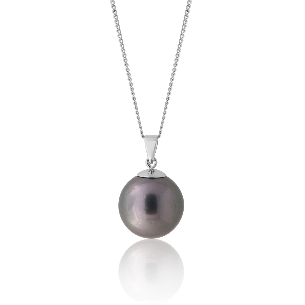 9ct White Gold 13-14mm Tahitian Pearl Pendant with 45cm Chain