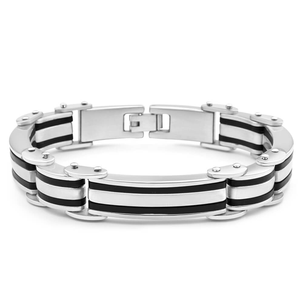 Forte Stainless Steel Forte Double Rubber Stripe 21cm Fancy Bracelet