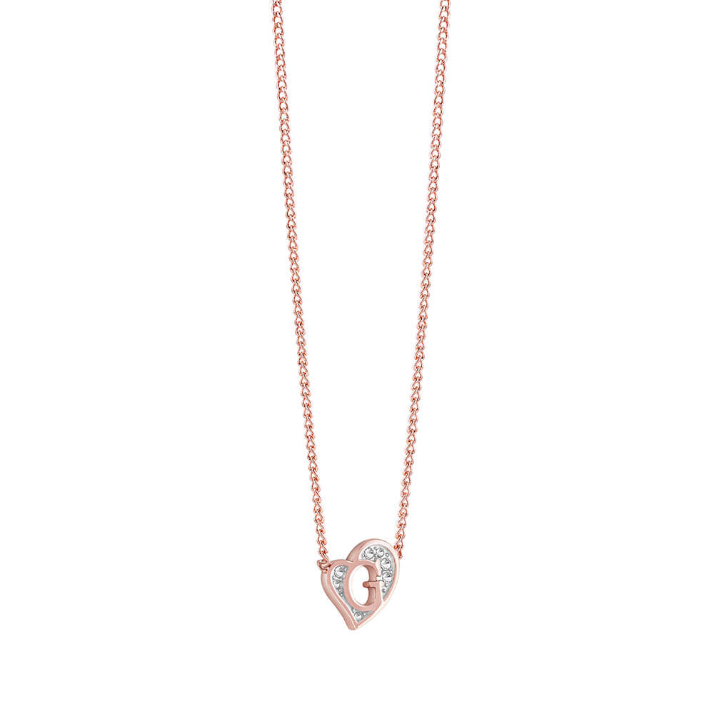 Guess Gold Plated Heart Crystal Pendant With Chain