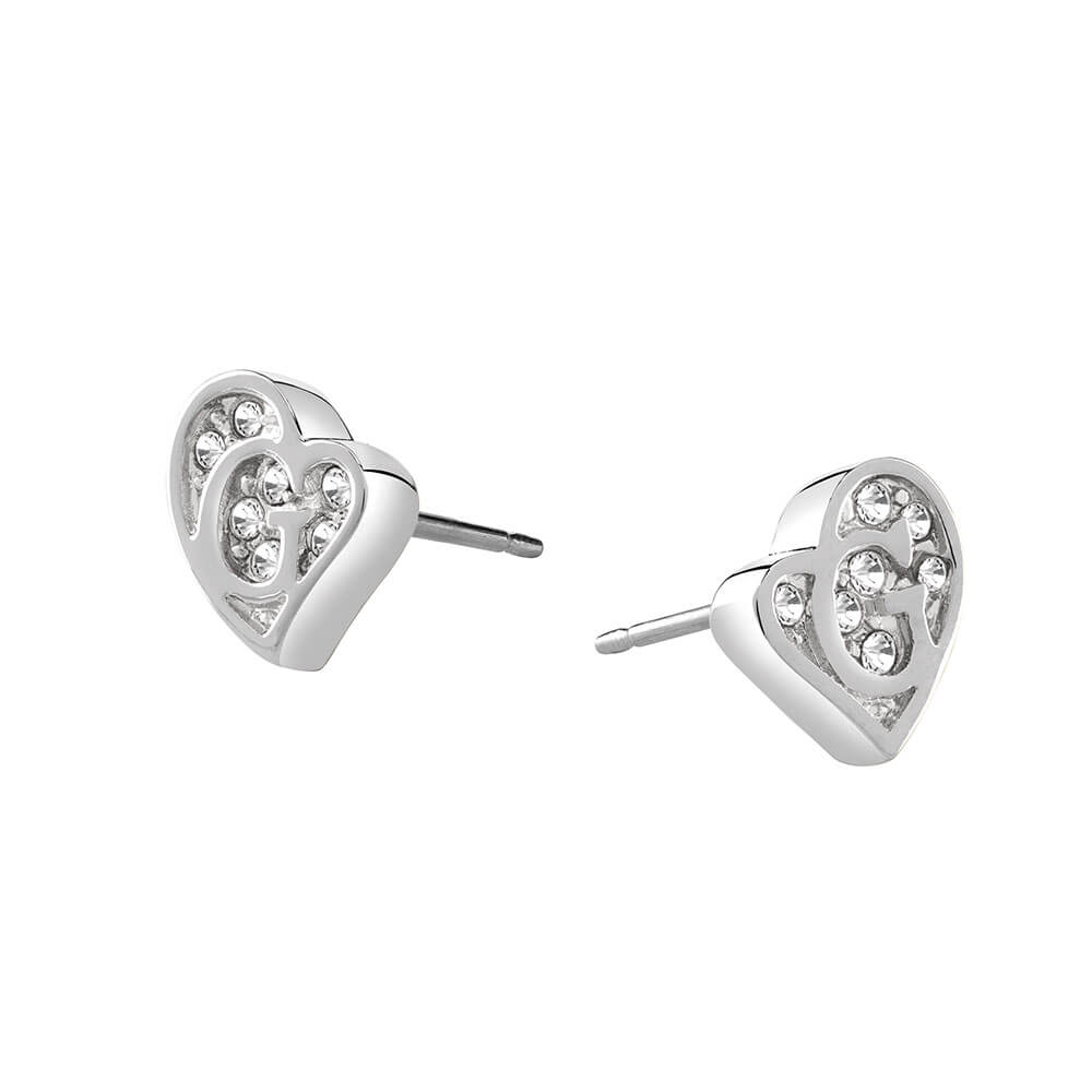 Guess Silver Plated Heart Crystal Stud Earrings