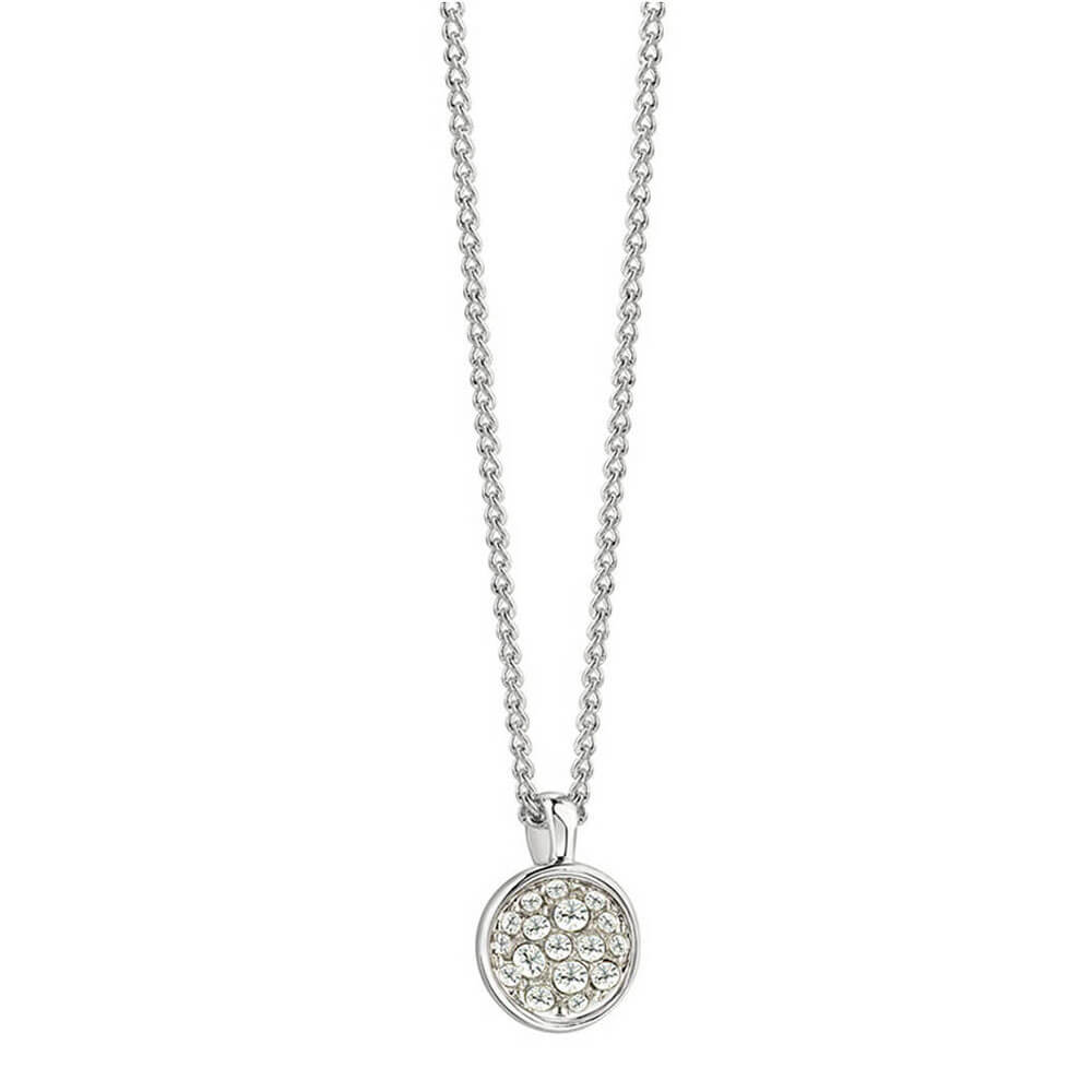 Guess Silver Plated Round Crystal Pendant With Chain