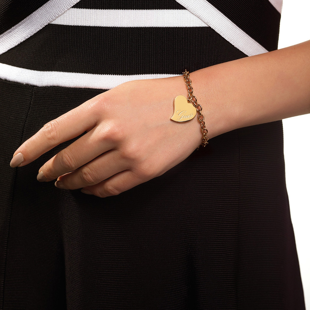 Guess Gold Plated Love Heart Bracelet