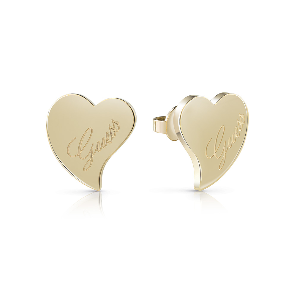 Guess Gold Plated Love Heart Stud Earrings