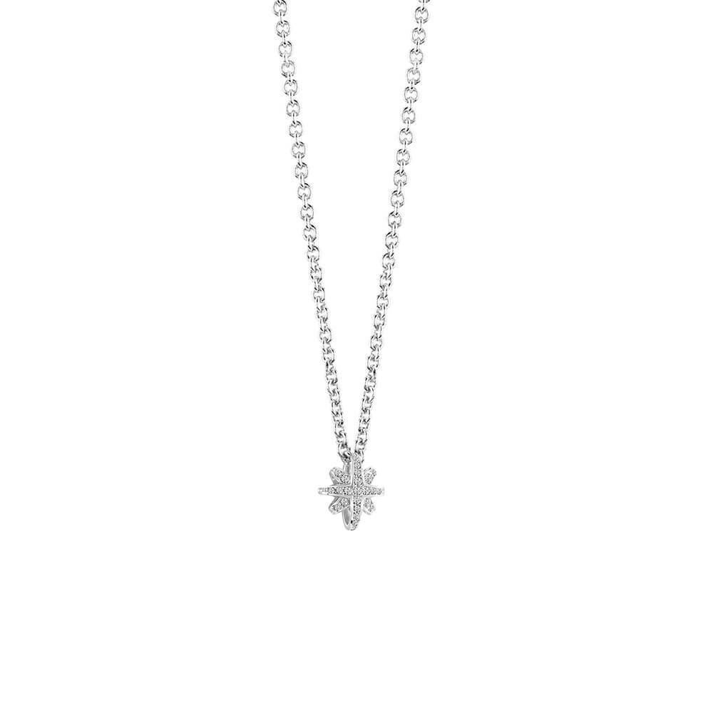 Guess Silver Plated Star Crystal Pendant With Chain
