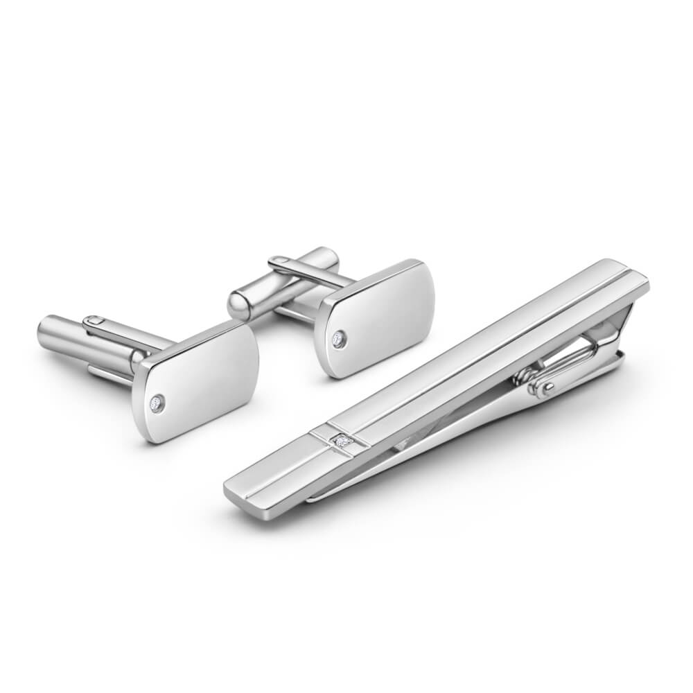 Forte Stainless Steel Cubic Zirconia Tiebar and Cufflink Set