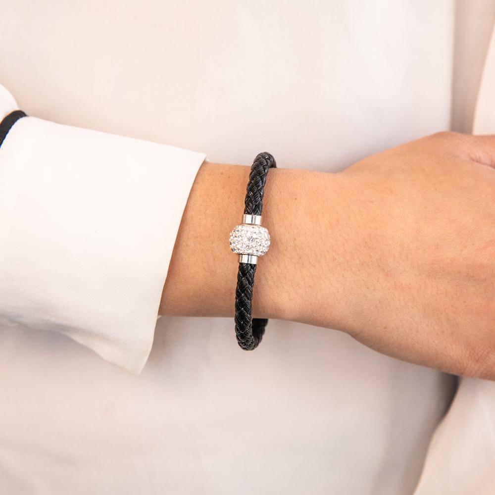 Stainless Steel Crystal Magnetic Black Leather Fancy Bracelet