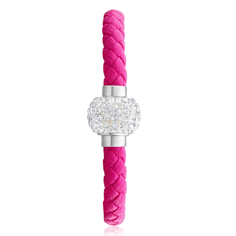 Stainless Steel Crystal Magnetic Pink Leather Fancy Bracelet