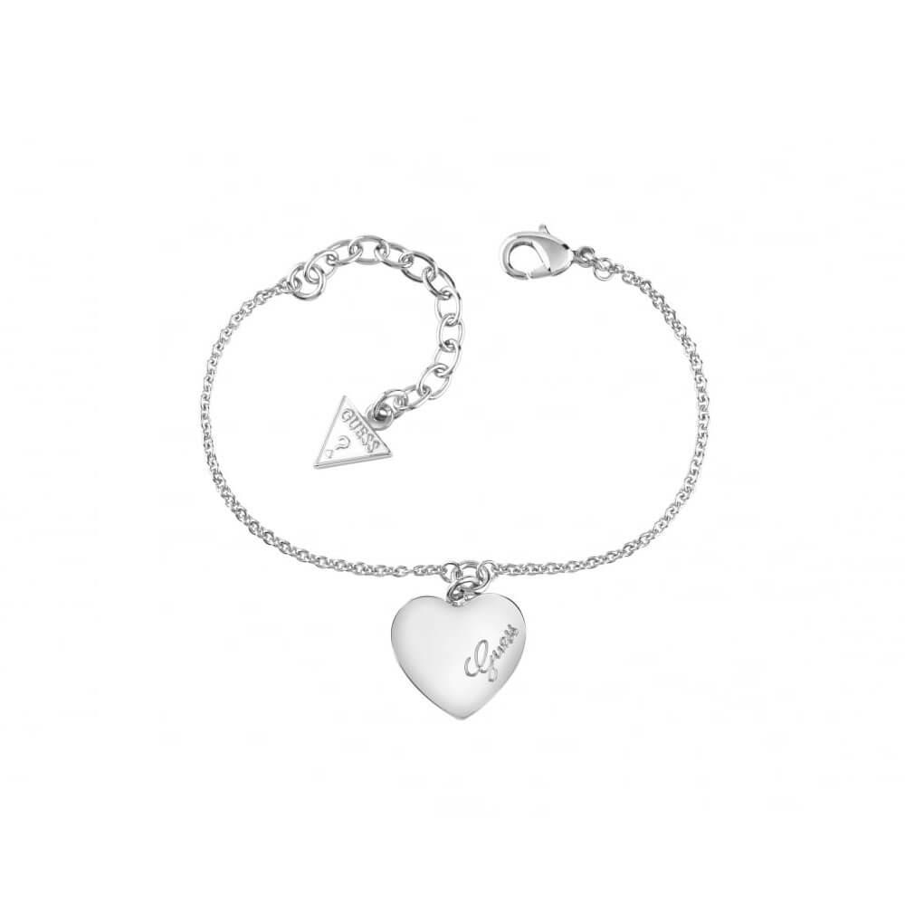 Guess Silver Plated Heartbeat Fancy Bracelet
