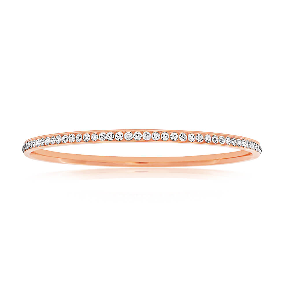 Stainless Steel Rose Gold Plated Crystal 3mmx65mm Bangle