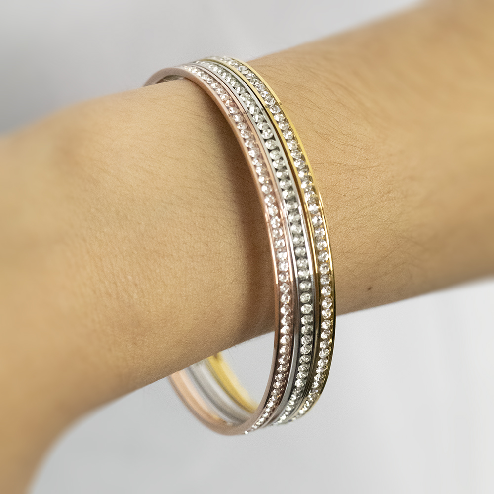 Stainless Steel 3mmx 65mm Crystal Bangle