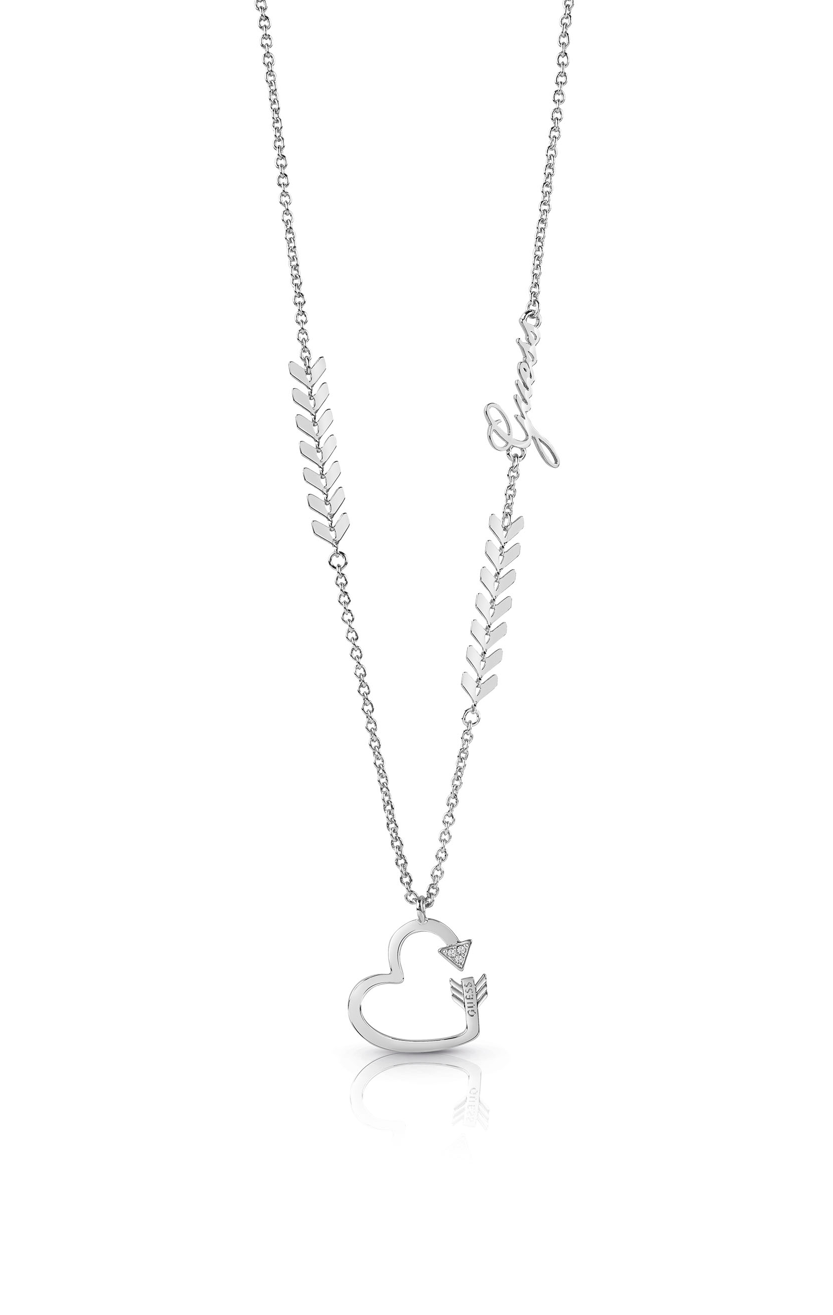 GUESS Silver Plated Arrows and Heart Silver Plated Pendant