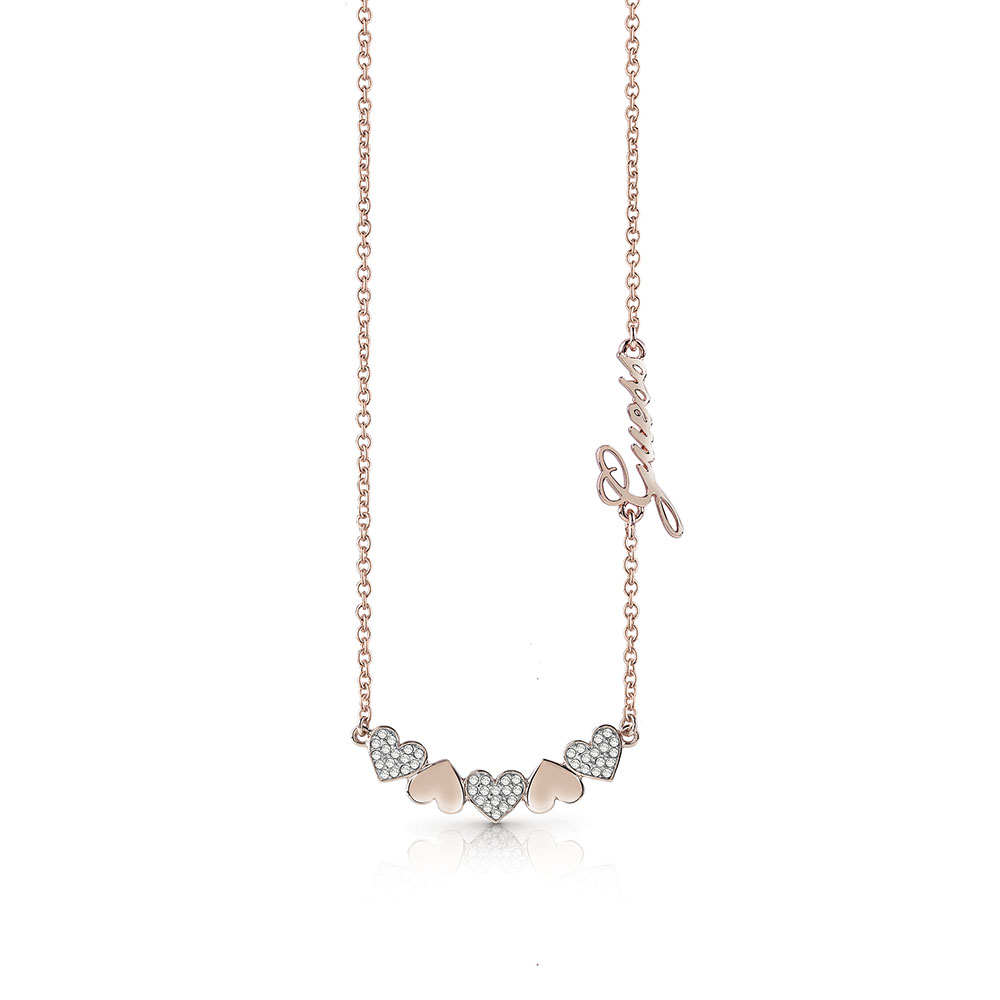 GUESS Rose Plated Fancy Hearts and Logo Necklace