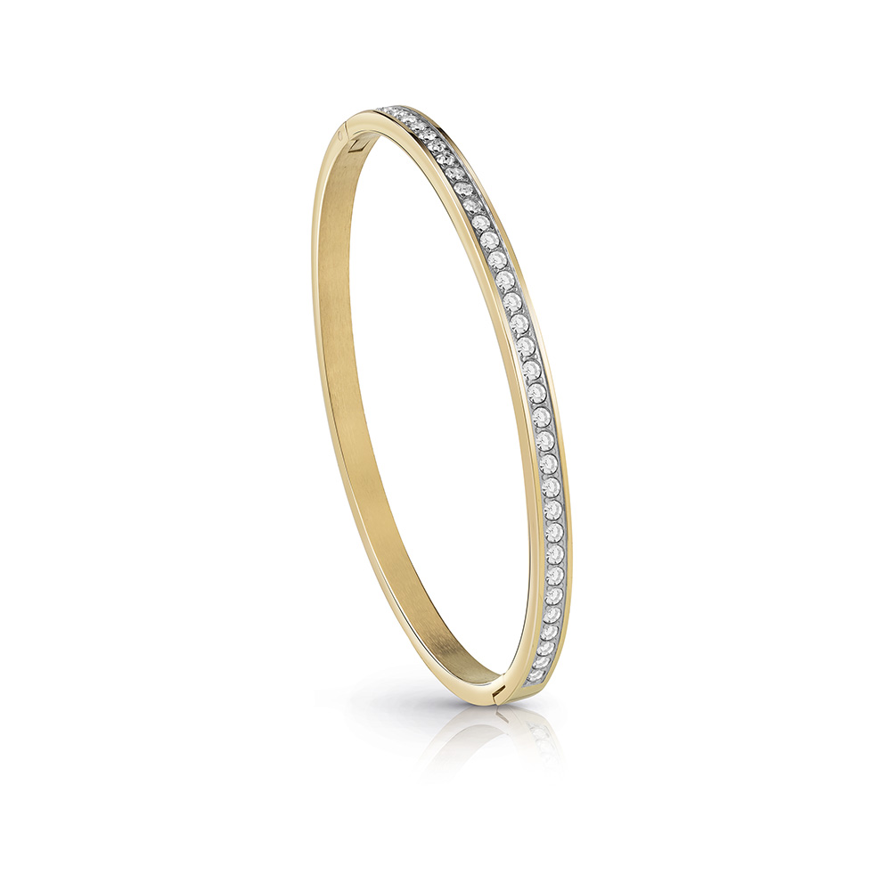 GUESS Gold Plated Crystal Pave Bangle